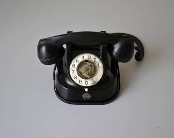 Vintage black bakelite telephone / rotary dial phone RTT / mid century design 50s
