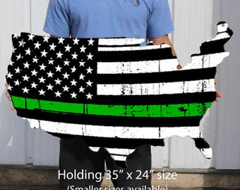Thin Green Line Flag Plasma Cut Steel USA Sign Federal Agents Border Patrol Park Rangers Decor Wall Art Custom Metal Sign Business Art