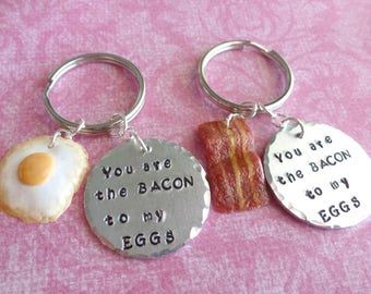 Best Friend Gift Best Friend Key Rings Friendship Gift Bacon and Egg Hand Stamped Jewelry Polymer Clay Jewelry
