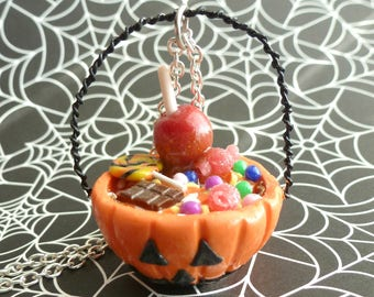 Halloween Pumpkin Jack'O Lantern Halloween Candy Bucket Polymer Clay