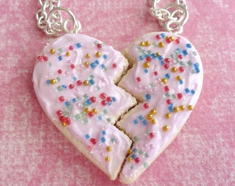 BFF Necklace BFF Gifts Sugar Cookie Necklace Miniature Food Jewelry Polymer Clay Sugar Cookie Necklace