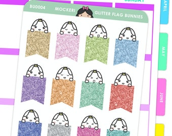 Bunny Glitter Flags / Planner Stickers