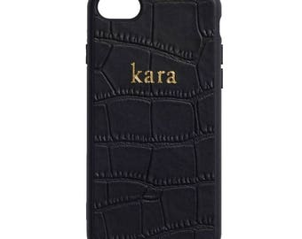 NEW PERSONALISED MONOGRAMMED iPhone 7 Crocodile Leather Cover Case Black