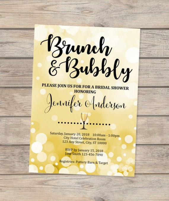 Brunch And Bubbly Invitation Gold Brunch Bridal Shower Invitation