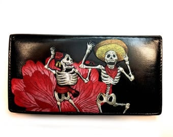 Leather Bifold Wallet Day of the Dead Skeletons Dancing