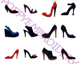 WOMAN shoes designs for embroidery machine  / motifs chaussures femme pour broderie machine / INSTANT DOWNLOAD