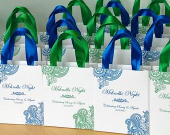 35 Mehndi Night Gift Bags With Satin Ribbon Names
