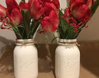 Spring mason jar centerpiece, farmhouse decor, tulip centerpiece, easter centerpiece