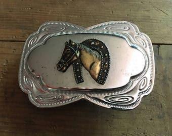 Horse Belt Buckle Vintage Horseshoe Western Buckle Rodeo Belt Buckle