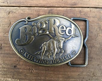 Vintage Big Red Chewing Tobacco Brass Belt Buckle NEW
