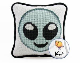 "Mini Needlepoint Alien Emoji Pillow Kit, Needlepoint Kits, Alien Craft, Fun ModernTapestry DIY kit, Extraterrestrial Space Sci-Fi Fan 8""x8"""