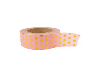 Washi tape - pink polkadot gold foil, stationery, stationary, LittleLeftyLou, Snail Mail, Happy mail, masking tape, 10 meter, pattern