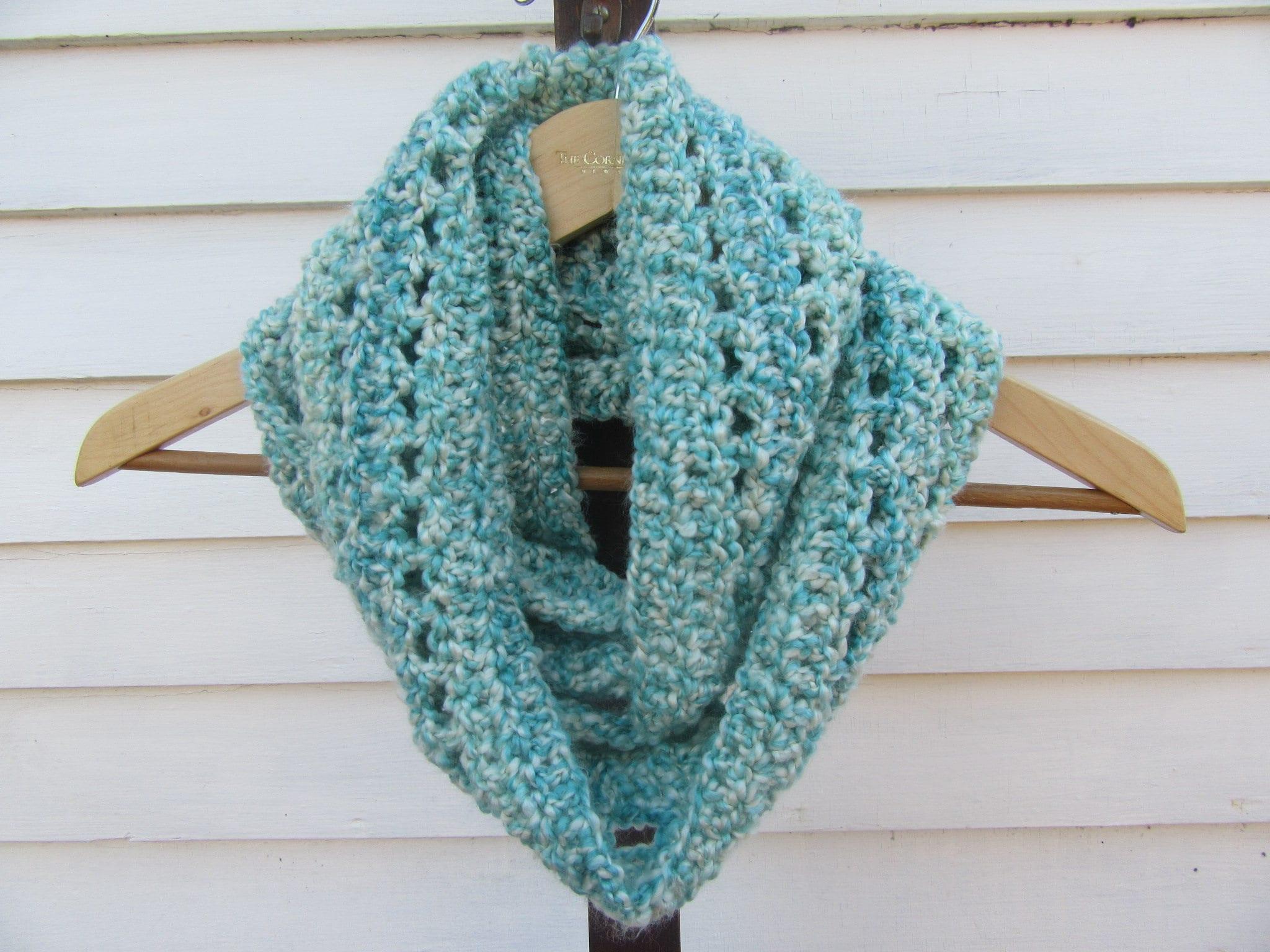 Light Blue Soft Chunky Crochet Woman S Infinity Scarf