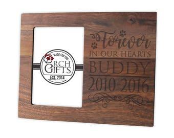 Dog memory photo frame/Hardwood walnut/cherry/maple dog picture frame engraved, engraved memories, pet frame engraved