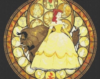 """Beauty and the beast Counted Cross Stitch beast Pattern disney pattern cross stained glass pattern - 19.71"""" x 19.71"""" - L784"""