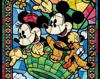 "Mickey in air balloon Cross Stitch stained glass Pattern Mickey stained needlework, Kräiz Stitch - 19.71"" x 28.36"" - L728"