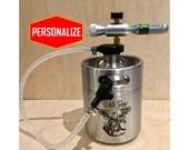 Custom Mini Keg Beer Growler with CO2 dispensing system, KEG, kegerator, Personalized design, growler, birthday, anniversary gift, Christmas