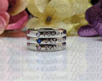 Personalized Stacking Rings, 3 mm Wide Name Ring with Birthstone, Stackable Ring, Personalized Ring, Mothers Ring, Name Ring Stainless Steel