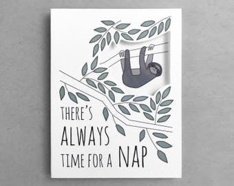 Card for friend | Sleeping sloth Cute sloth Sloth card Sloth quote Card for her Sloth nap card Cute sloth Friendship card