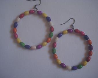 Multi colour hoop earrings - Giant  hoop earrings - Boho earrings - Women's fashion jewelry - Large hoop