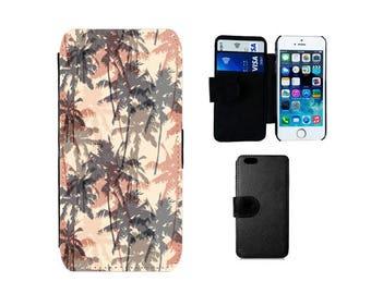 Palm tree phone case, Wallet flip case, Samsung Galaxy S7, S6, Edge S5, S4 Mini, Note 5, iPhone 7, 6, 6S, 6 Plus 7 Plus, SE, 5S, 5C, 4S F316