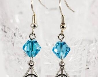 25% OFF Blue Crystal Ravenclaw Charm Earrings - Ravenclaw Earrings - Harry Potter Earrings - Deathly Hallows Earrings - Blue Earrings
