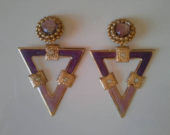 Pink and lilac etniques earrings