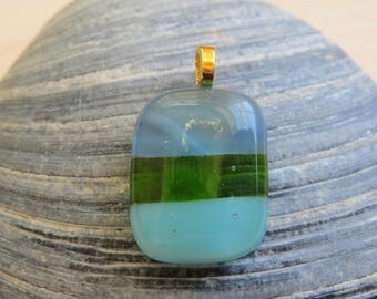 Emerald Green and Blue Fused Glass Pendant