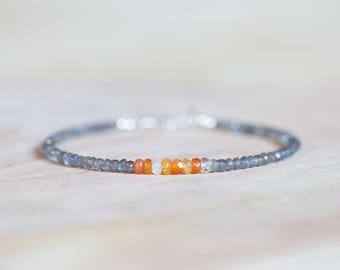 Labradorite & Mexican Fire Opal Bracelet, Delicate Multi Gemstone Stacking Skinny Bracelet, Mexican Fire Opal Jewelry, Sterling Silver