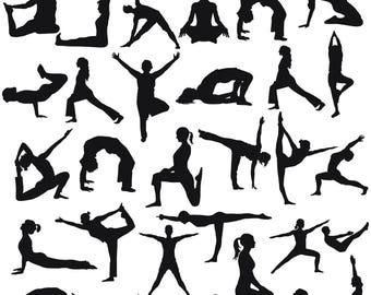 Yoga Clipart, Yoga Poses Silhouette, Yoga SVG, Yoga Silhouettes Clipart, Exercise Clipart, Printable Yoga Posture, SVG Files