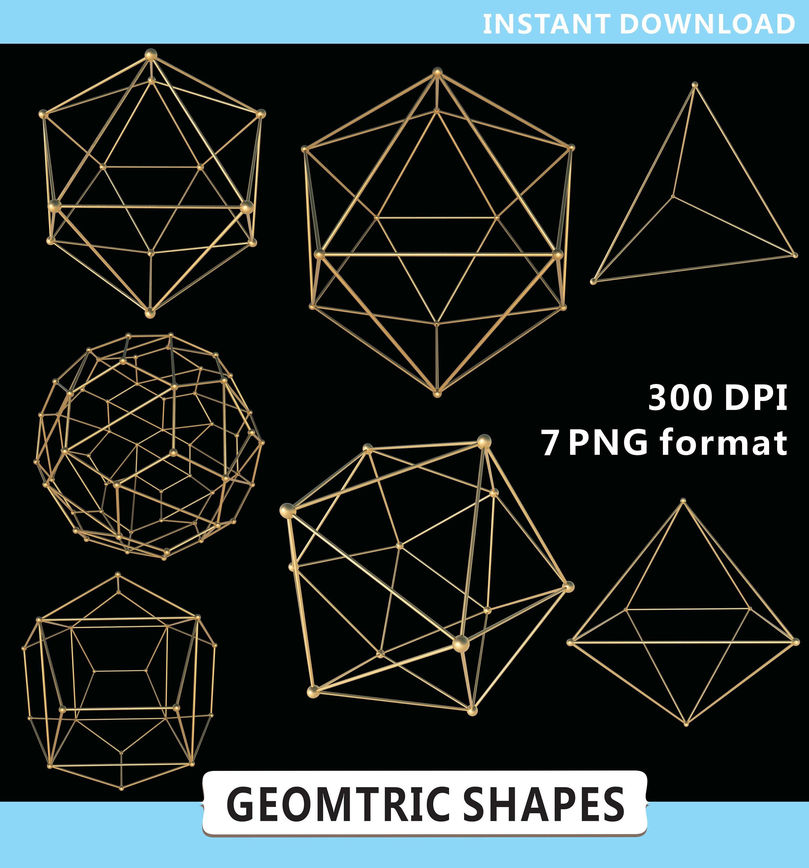 Geometric Shapes Clipart, Geometry Clipart, Gold Geometric ...