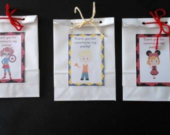 Paper favor bags-Match cupcake toppers=Superhero Girls=Construction boys=Minnie Girls