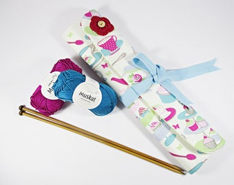 Handmade knitting needle case, knitting needles organizer, needles case, knitting, needles case, tea and cake, pink, blue, floral