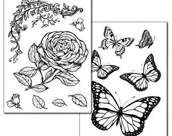 2 paper Rose and butterfly image transfer