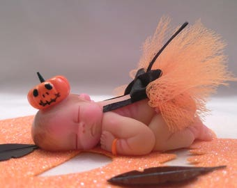 """Polymer Clay Baby """" Halloween Baby"""" BABY SIZE 2.5"""" Gift, Collectible, Keepsake, Cake Topper, Home Shelf Display"""