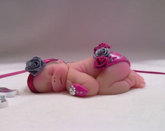 "Polymer Clay Babies ""Baby Rose, SIZE 2.5"" Gift, Keepsake, Collectible, Cake Topper, Memorial, Baby Shower, Birthday, Christmas,  Display"