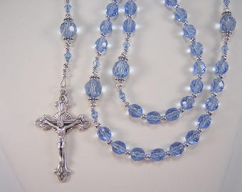 Womens Blue Rosary Catholic Necklace 24 inch Light Sapphire Czech Glass Beads Las Mujeres Collar Rosario Free shipping USA