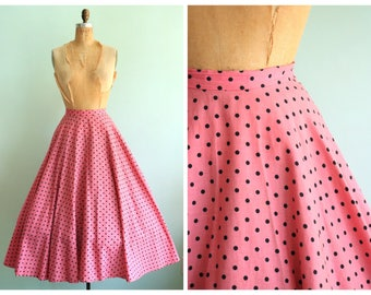 Vintage 1970's Pink and Black Polka Dot Circle Skirt  | Size Large