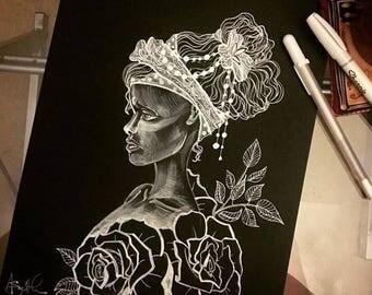 Original Drawing on Artagain Black Drawing Paper ~9x12