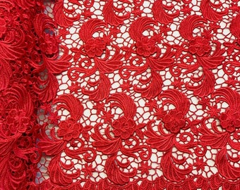 """Red Camellia Guipure French Venice Lace Embroidery 52"""" inches wide many colors"""