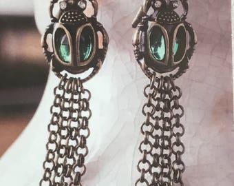 Scarab - Beetle - Fridge Chain Earrings - Egyptian Earrings