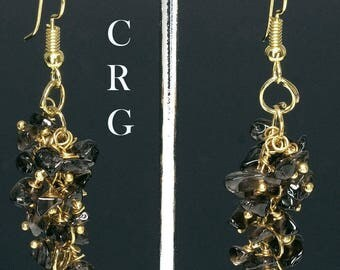 Gold Plated Smoky Quartz Grape Cluster Earrings (GC27DG)