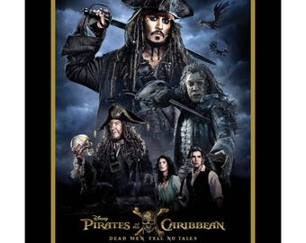 Pirates of the Caribbean Fabric Panel Movie Poster Dead Men Tell No Tales Large Panel