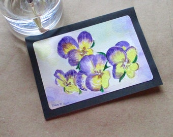 Original Watercolor pansy-flower-floral Blank Note Card