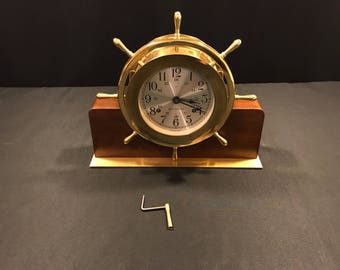Vintage Mid Century Seth Thomas Brass & Walnut Helmsman Ships Wheel Clock 108-E537-001