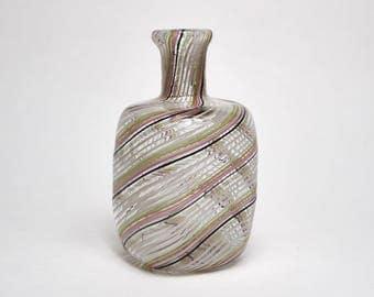 Vintage 1950s Venetian Murano Mezza Filigrana miniature glass vase