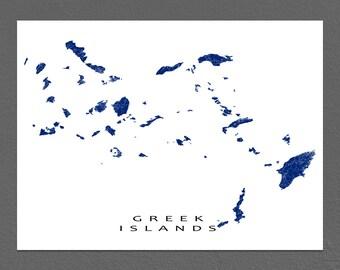 Greek Islands Map Print, Greece Map Art, Santorini Mykonos Rhodes
