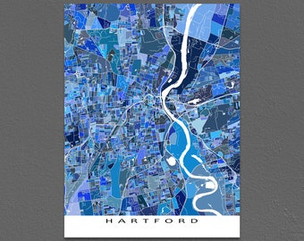 Hartford Map Art Print, Hartford Connecticut, USA City Maps