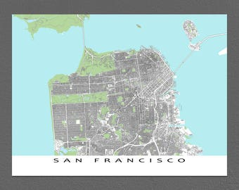 San Francisco Map Print, San Francisco California Street Map Art, Buildings