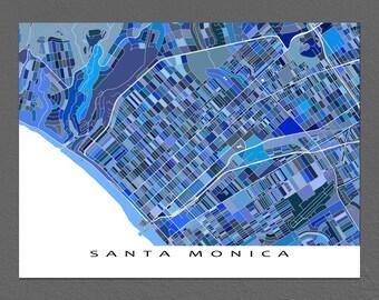 Santa Monica Map Print, California, USA, Blue City Street Art